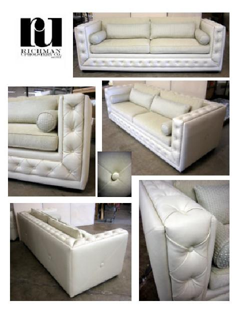 Square arm sofas with diamond pleated button-tufted details for residence  in Dallas, TX